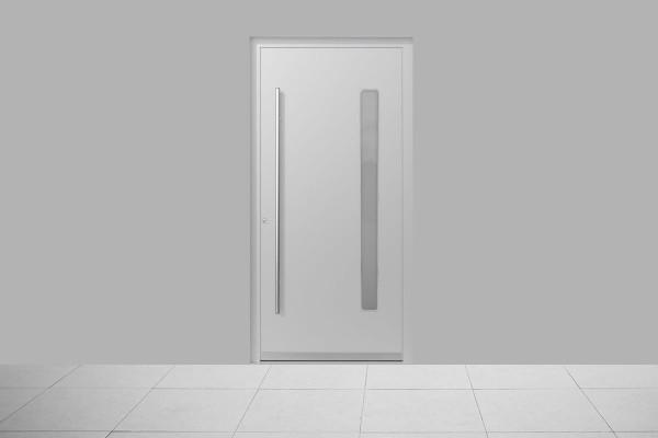 Aluminium Haustür Modern Weiß Matt